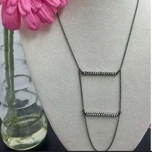 Two tier CZ Bar Necklace,NWT